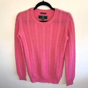 C. Wonder Pink Cashmere Sweater Cable Knit XS Soft